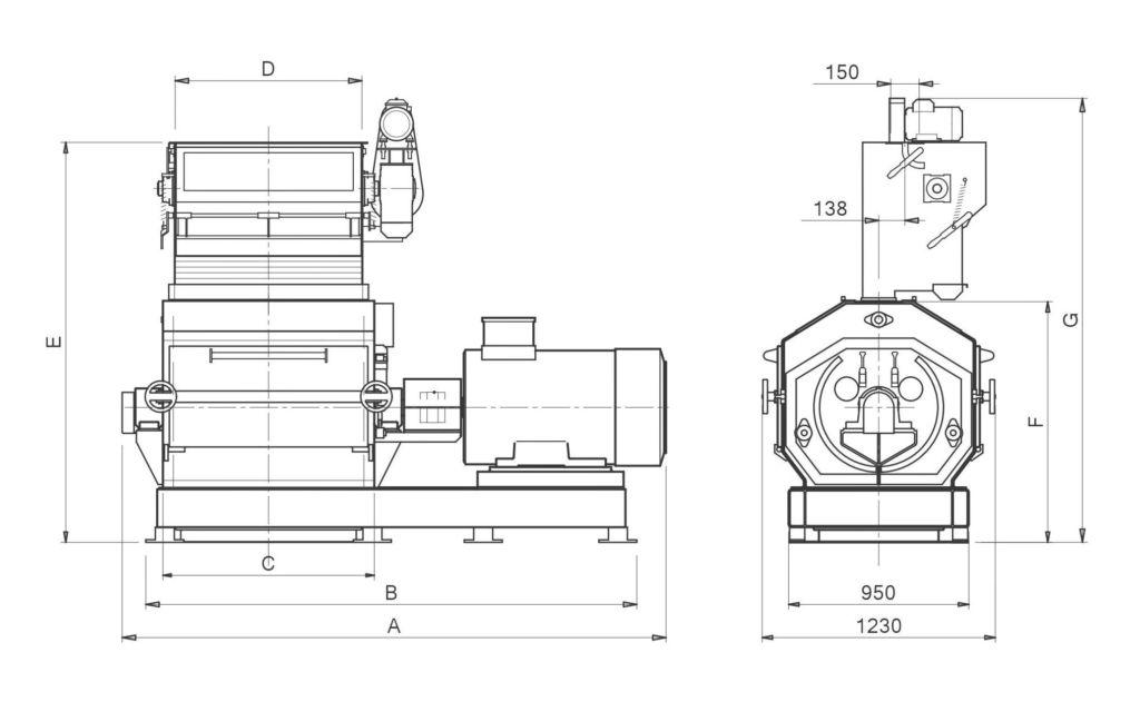 Hammer mill MF28DG Side version